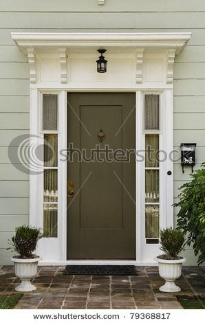 Olive Green Door Color Light Gray Exterior For Siding