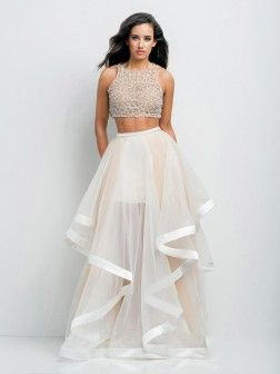 A-Line/Princess Scoop Sleeveless Beading Floor-Length Organza Dresses