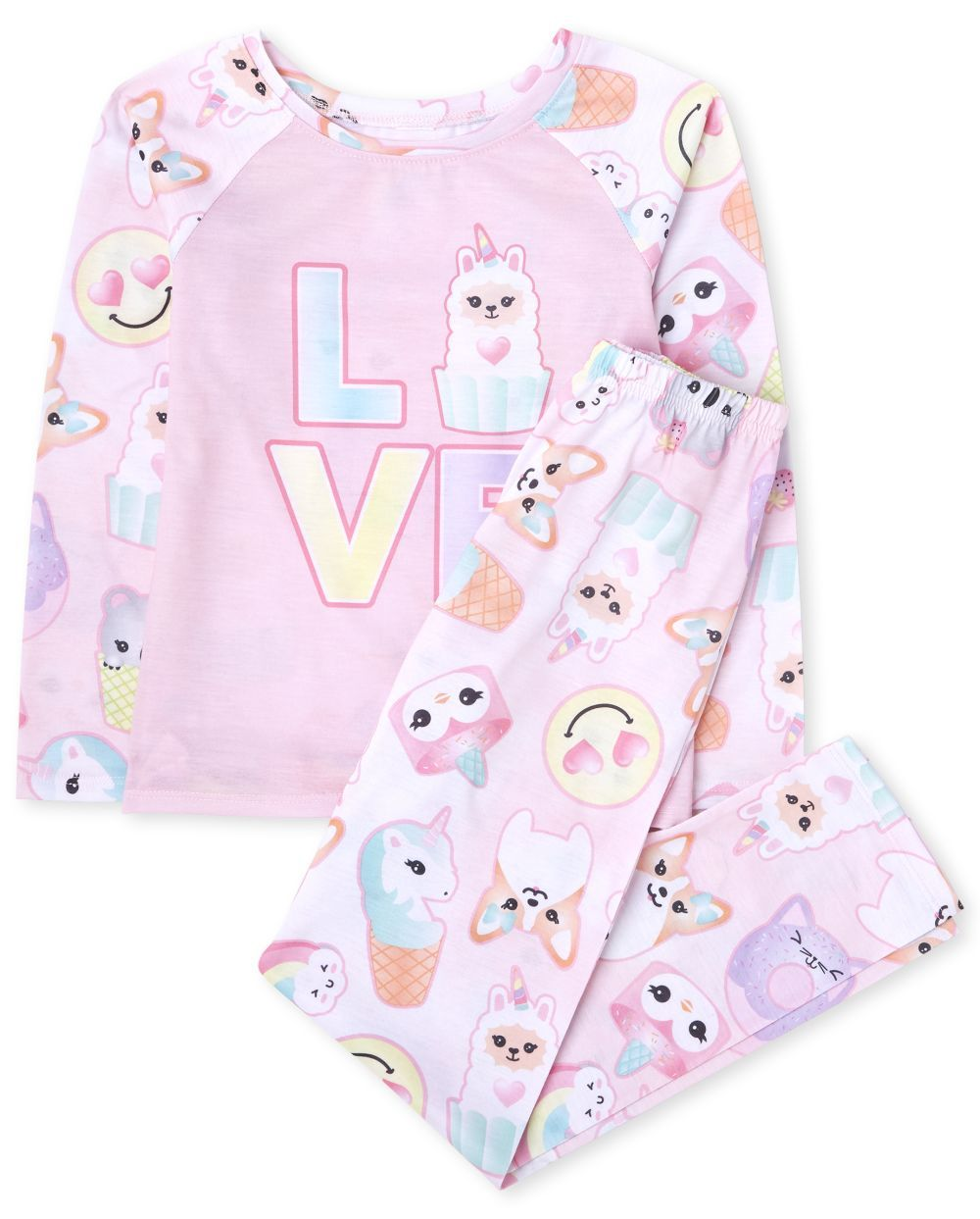 Girls Squishies Love Pajamas. Made of 100% polyester jersey.Note: for child's safety  garment should fit snugly or be flame resistant. This garment is flame resistant..Crew neck.'LOVE' graphic design at front.Squishies print at sleeves and back.Pants have pull-on elasticized waistband.Allover squishies print.Imported.
