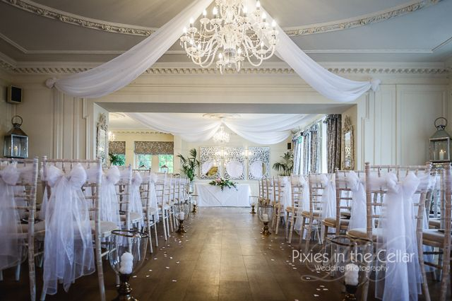 Eaves Hall Wedding Ceremony Room Set Up In A Simple Classic White Colour Scheme