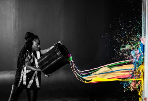 Photography art girl beautiful photo white throw black dark colour color original strong woman graphic explosion paint studio splash air powerful bucket