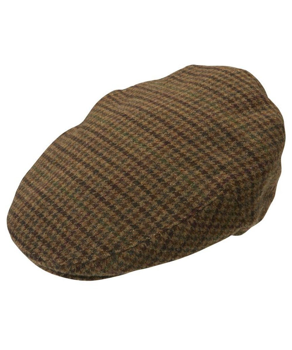 Mens Barbour Wool Crieff Flat Cap - Dark Brown Club Check 0dda7565bac