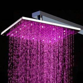 Shower Head With Color Changing Led Light Party Everywhere Including In The Shower P Haha Shower Heads Color Changing Led Rainfall Shower Head