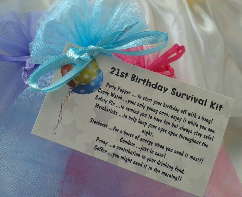 21st Birthday Survival Kit. Novelty Gift Hand Made Present