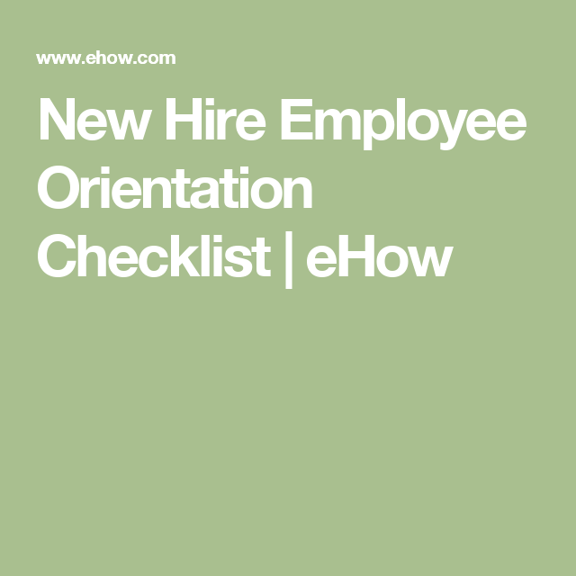 Sample Employee Orientation Checklist