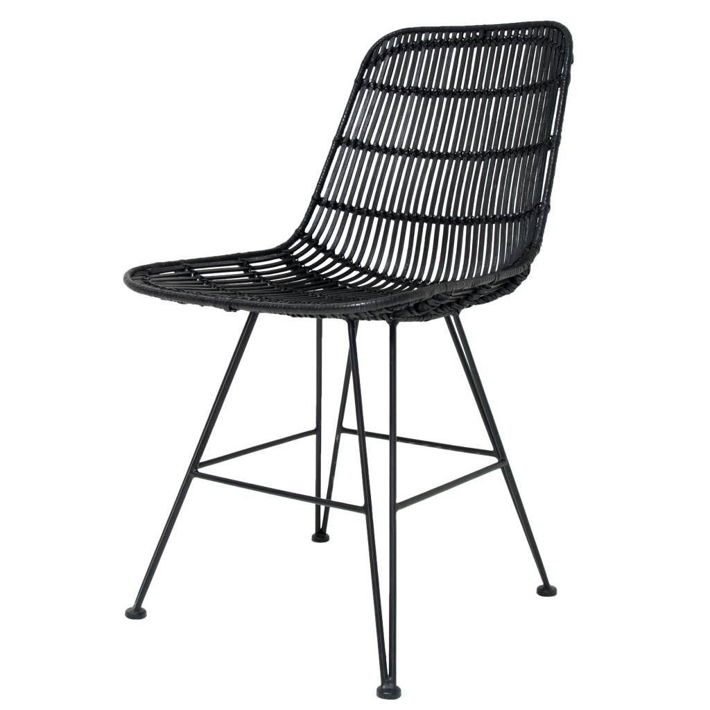 HK-living Dining chair black metal / rattan 80x44x57cm, rattan chair