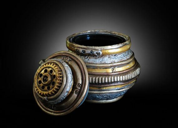 Steampunk Stash Jar. Airtight beat up funky and by TheStacheWorks