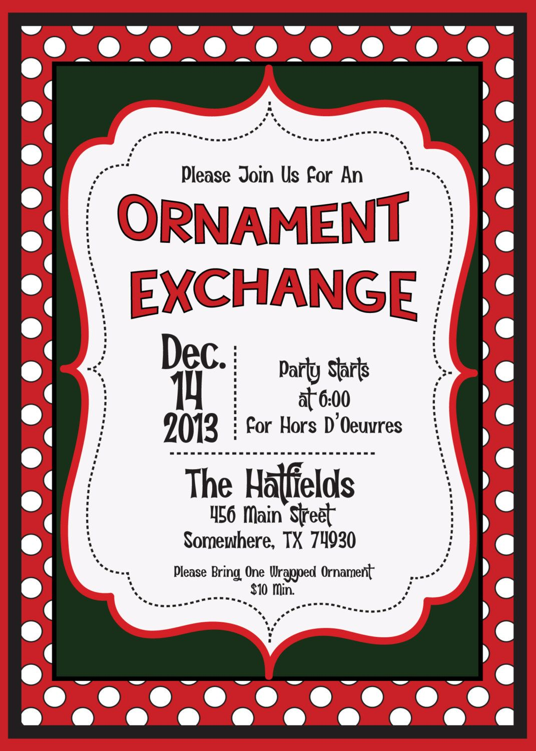 Christmas Ornament Exchange Invitation Digital File by MolsDesigns ...