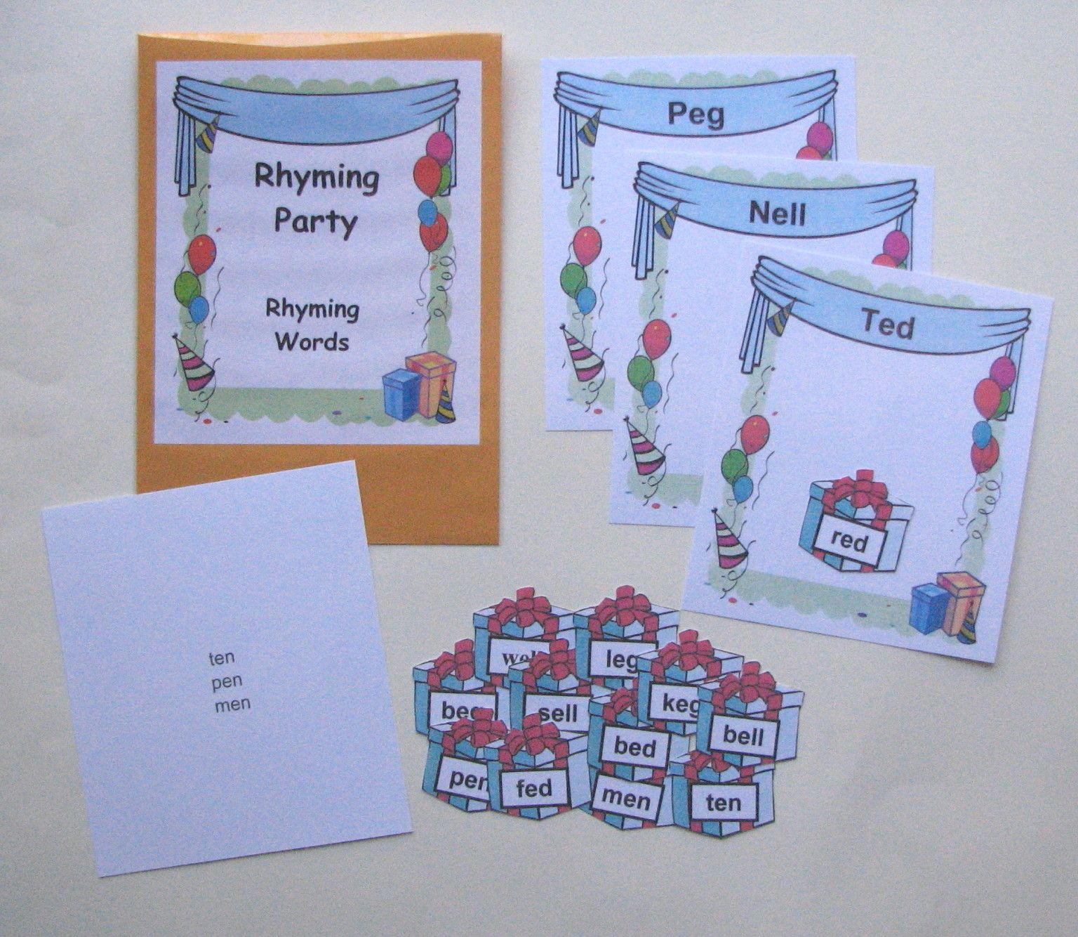 Rhyming Word Families Match Students Can Practice And