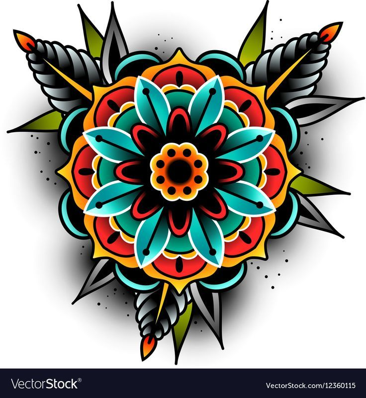 Photo of Old school tattoo art flowers for design and decoration. Old school tattoo flowe…