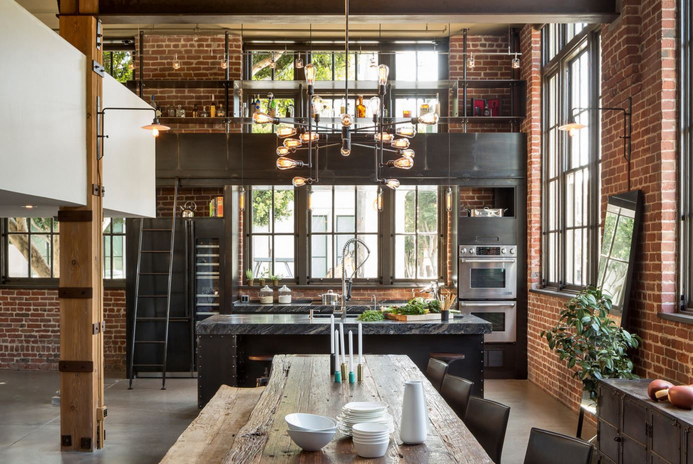 open space kitchen with exposed brick loft style   Home Sweet Home ...