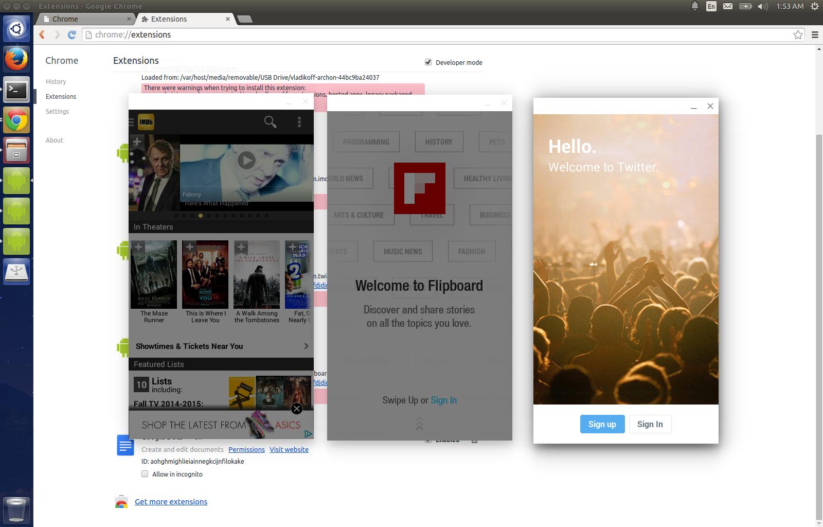 vladikoff/chromeosapk Android emulator, Linux, Android apps