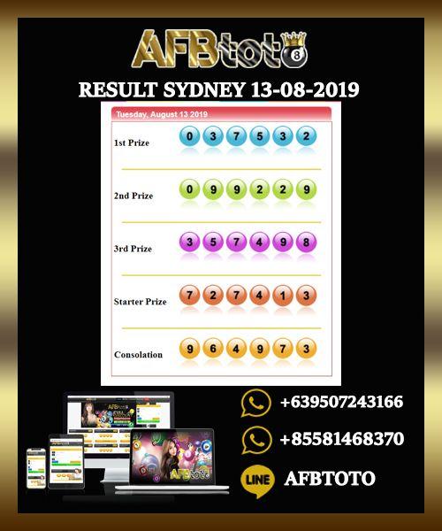 Angka Keluaran Togel Sydney 13 Agustus 2019 | Sydney, 31