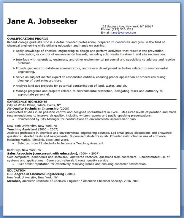 Chemical Engineer Resume Sample | Creative Resume Design Templates ...