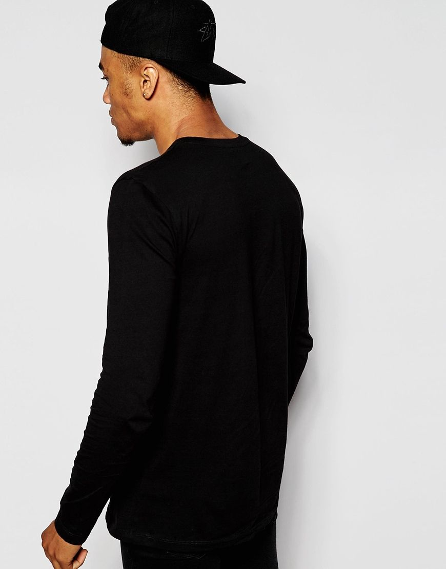 Image 2 of ASOS Longline Long Sleeve T-Shirt With Crew Neck In Skater Fit