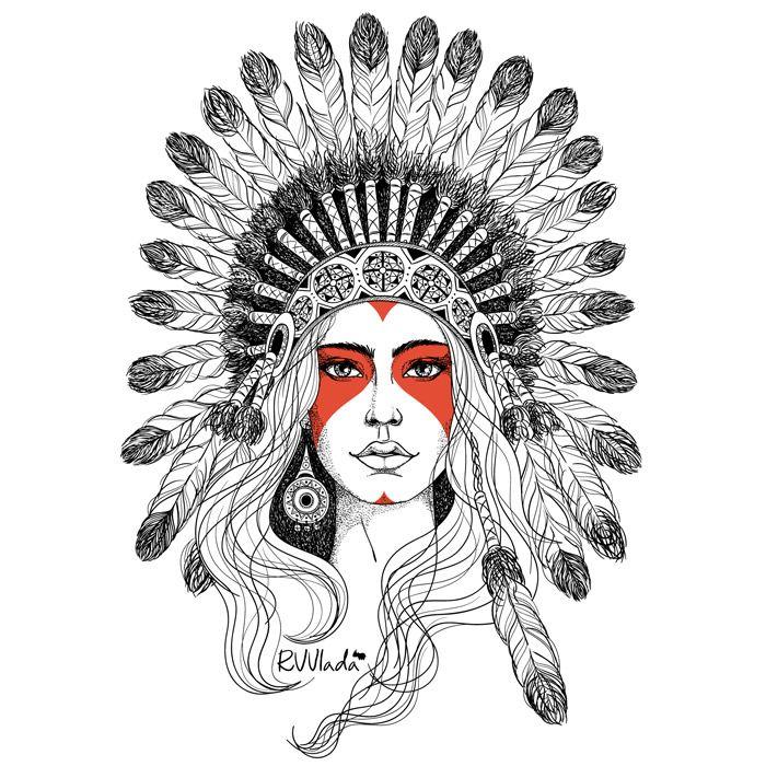 Indian Girl34 Tatuagem Cocar Tatuagem India E Indio Desenho