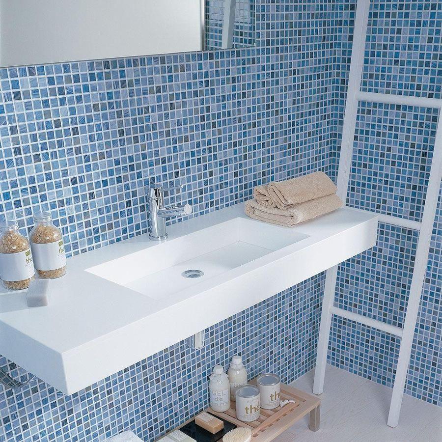 Mosaico Azul En El Lavabo Pequenos Azulejos Del Bano Banos Para