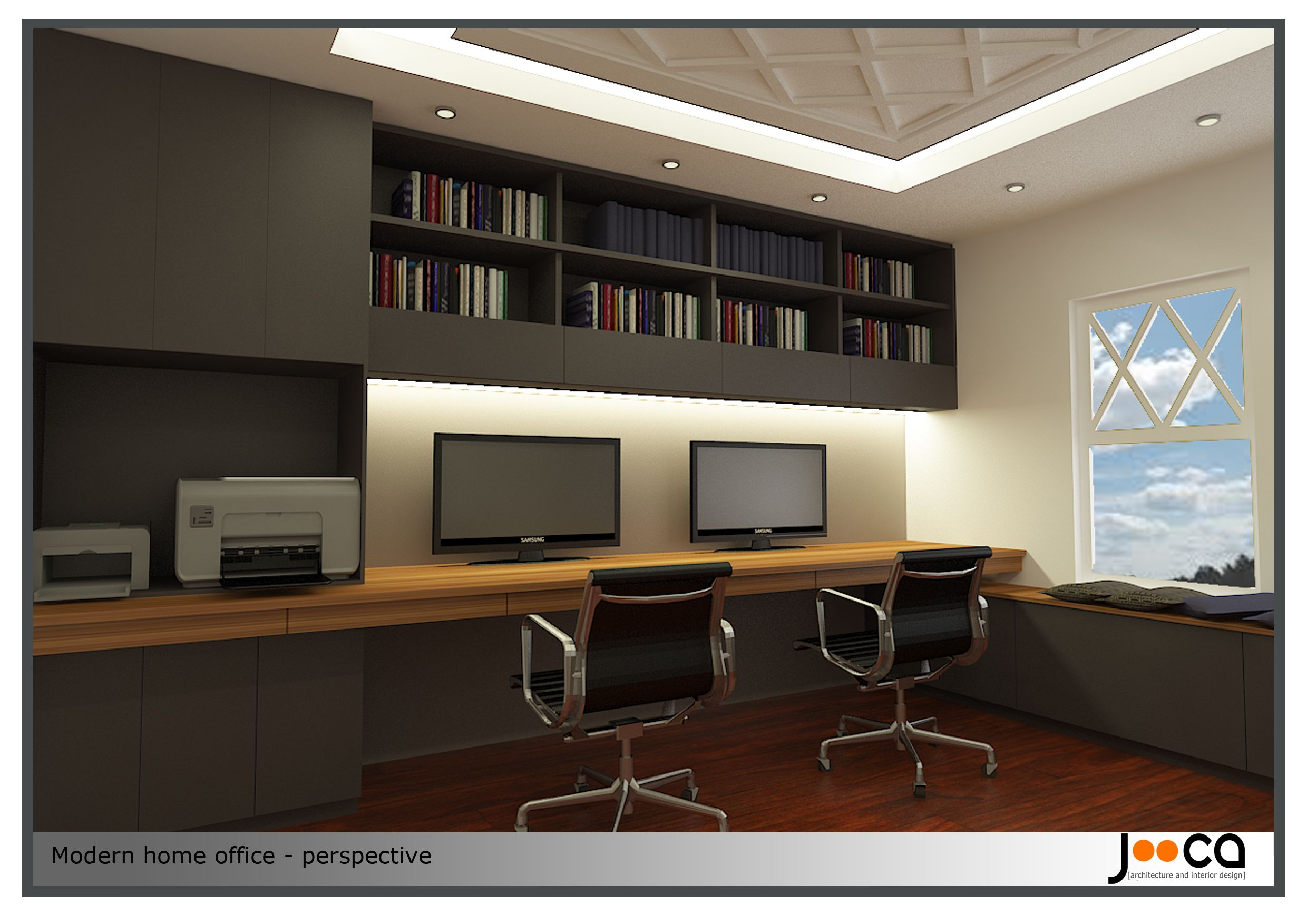 Contemporary office home office design project designed by jooca studio modern home glubdub Modern home office design ideas pictures