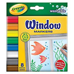 Crayola Washable Window Markers Conical Tip Assorted Colors Box Of 8 By Office Depot Crayola Window Markers Window Markers Washable Markers