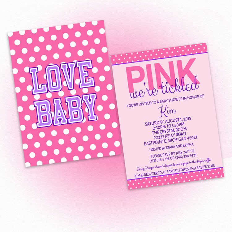 DIY Tickled Pink Love Baby Shower Invitation, $10   Baby Shower ...