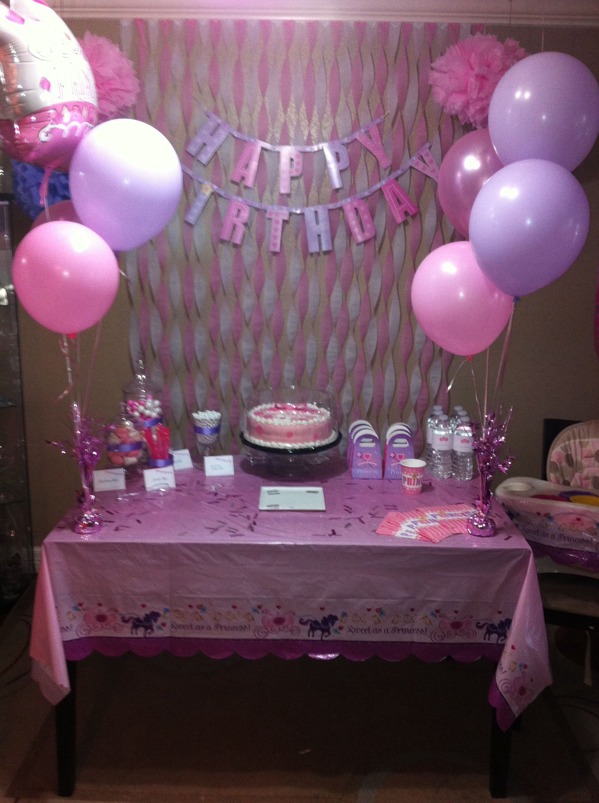 plastic chair covers party city for oversized recliners first birthday princess pink and lavender decor