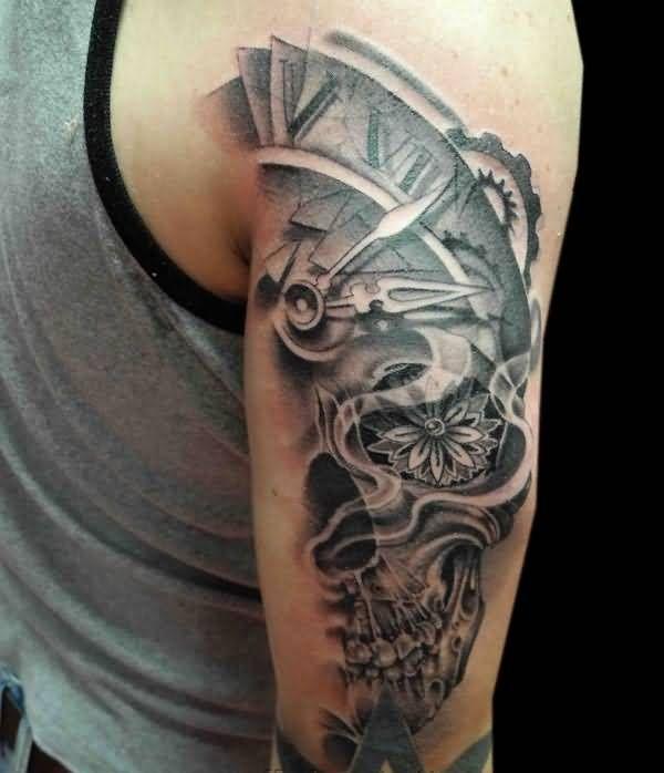 Mind Blowing Half Clock And Half Skull With Nice Star Tattoo On Back Sleeve Jpg 600 698 Clock Tattoo Sleeve Tattoos Hipster Tattoo