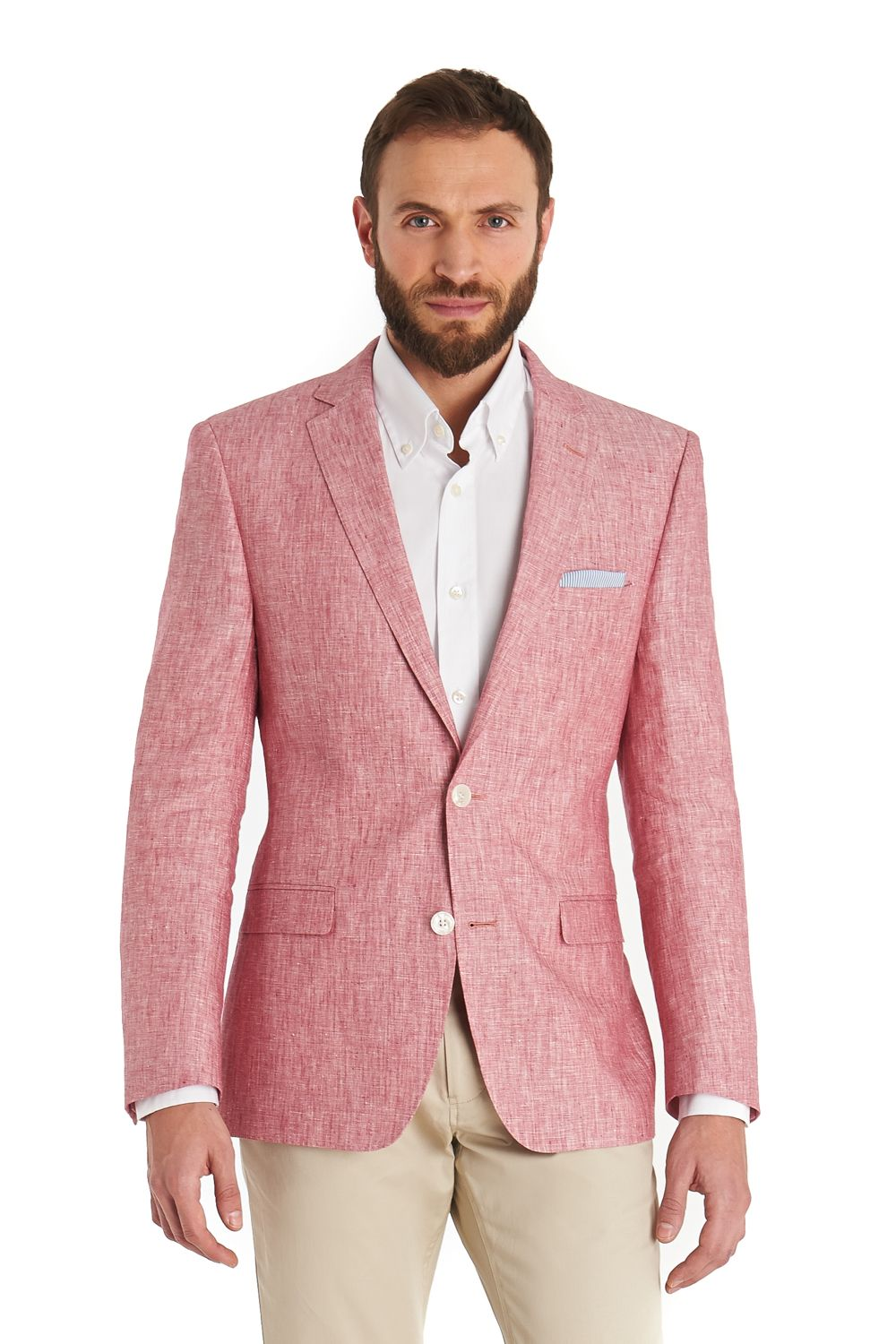 This+Blazer+tailored+fit+pink+linen+jacket+is+single+breasted+and+ ...