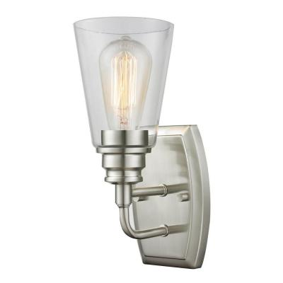 Photo of Filament Design Nina 1-light wall lamp made of brushed nickel CLI-JB040463 – The Home Depot