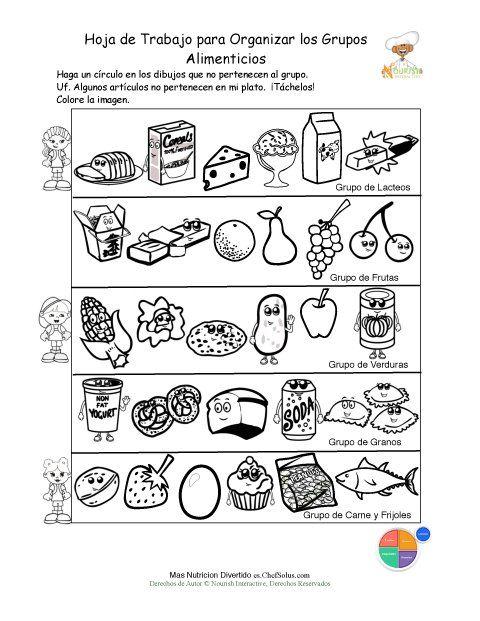 Imprimible - Colorear y Clasificar los Grupos Alimenticios ...