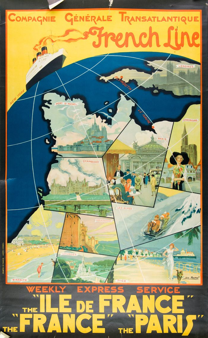 Poster advertising travel aboard the Ile de France, a ship of the French Line, designed by Leo Fontan, 1930. The Ile de France was the first major ocean liner built after World War I and the first liner to be decorated entirely in the Art Deco style. Her maiden voyage was in June 1927. Charleston Museum