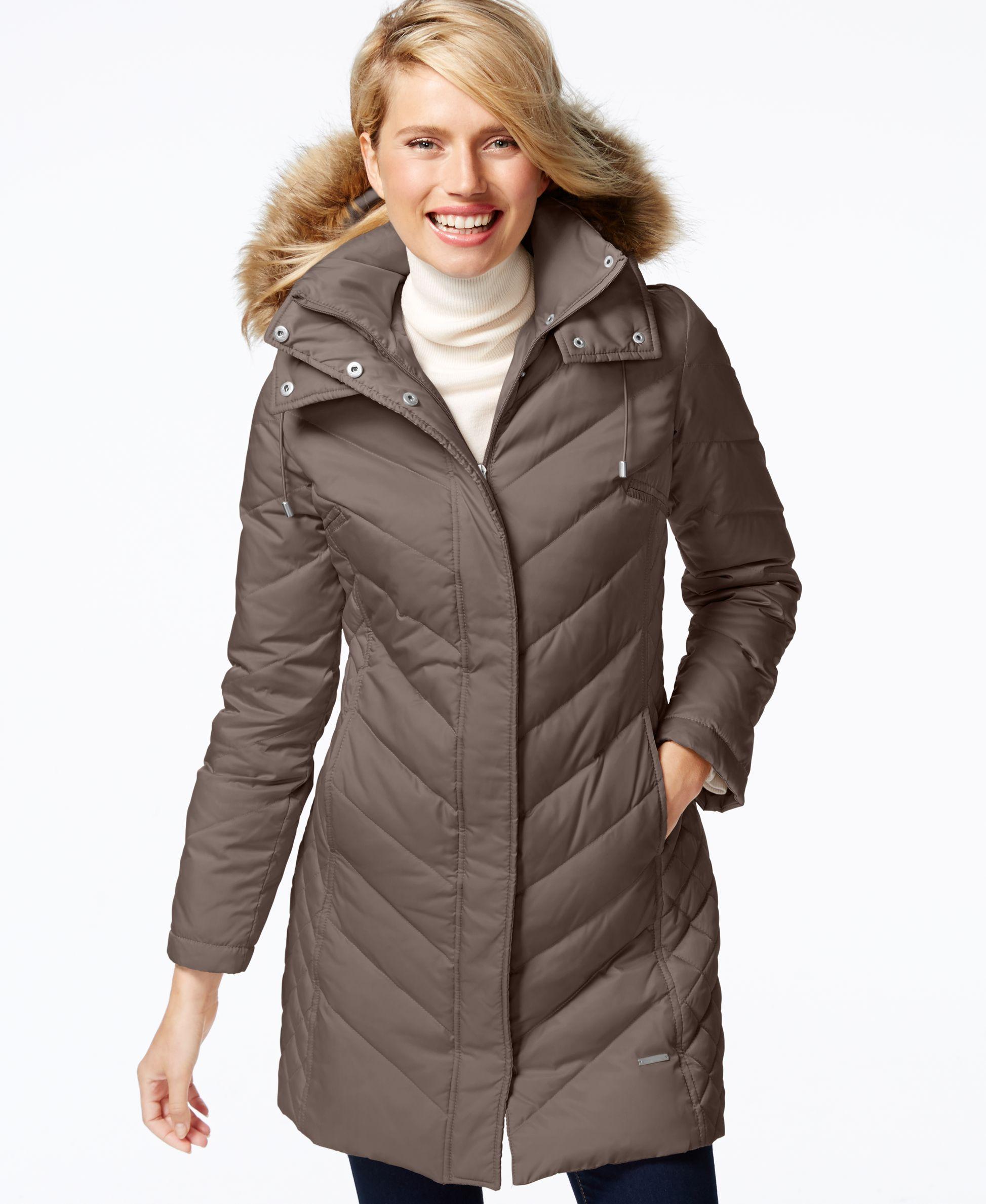 Kenneth Cole Faux-Fur-Trim Chevron Quilted Down Coat | Products ... : kenneth cole chevron quilted coat - Adamdwight.com