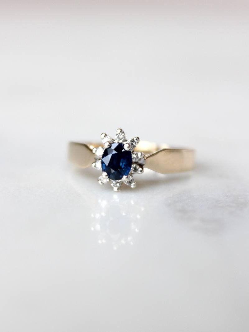 Blue Sapphire Diamond Vintage Engagement Ring Evorden Vintage