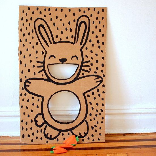 Got some cardboard paint felt and beans good now you can make diy easter bunny bean bag toss game with carrot bean bags or sew eggs from fabric fill them with sand or beans and toss in baskets solutioingenieria Images