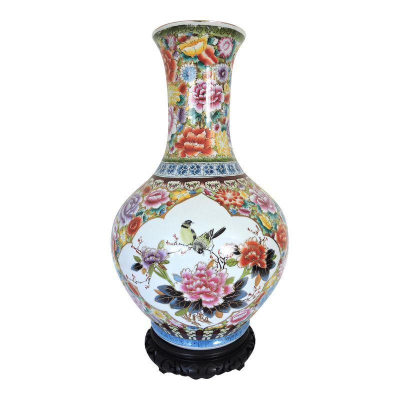 Large Oriental Gold Floral Hand Painted Vase H22 Hand Painted