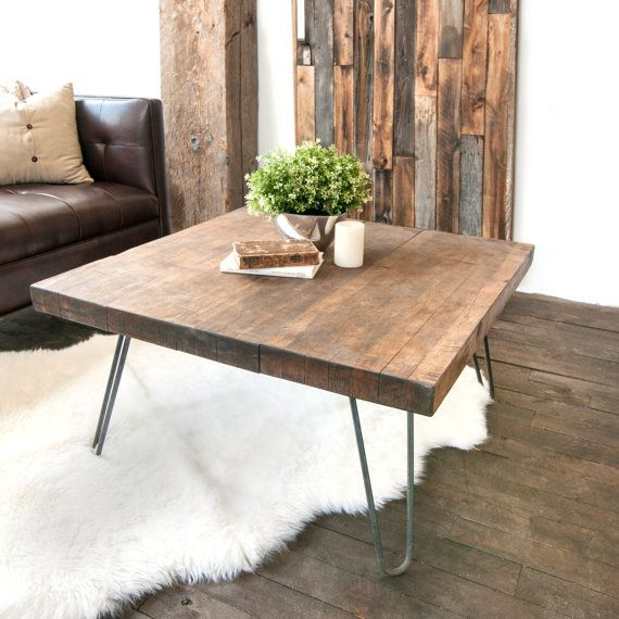 Custom handmade butcher block coffee table with industrial hairpin legs.  This - Wooden Coffee Table Salvaged Butcher Block Barn Wood Coffee Table
