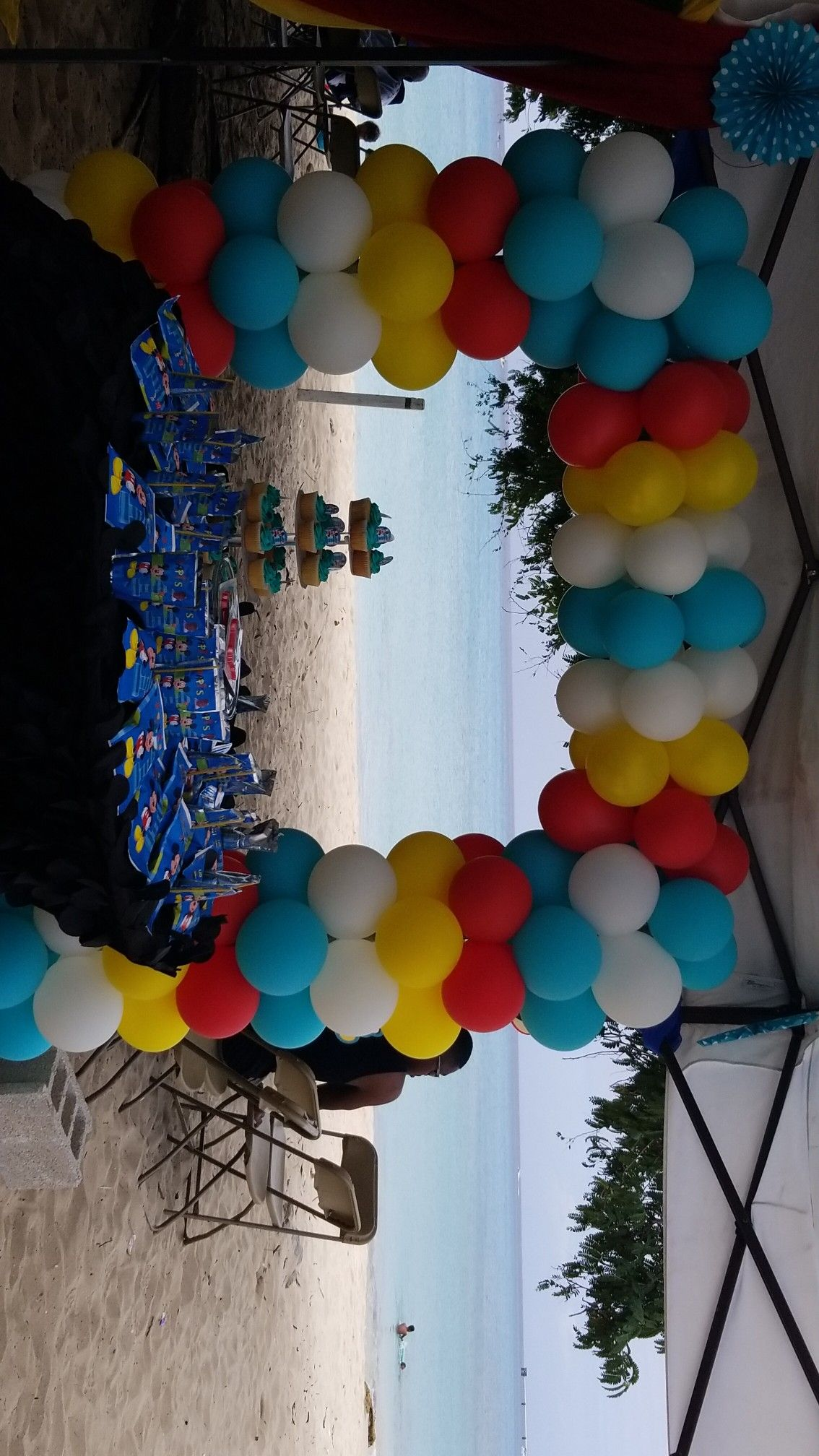 Mickey Mouse Theme Beach Party Balloon Frame With Turquoise Red