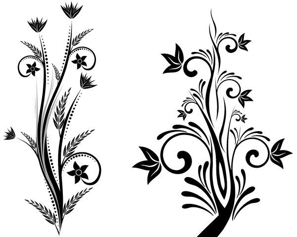 simple flower designs black and white free download clip