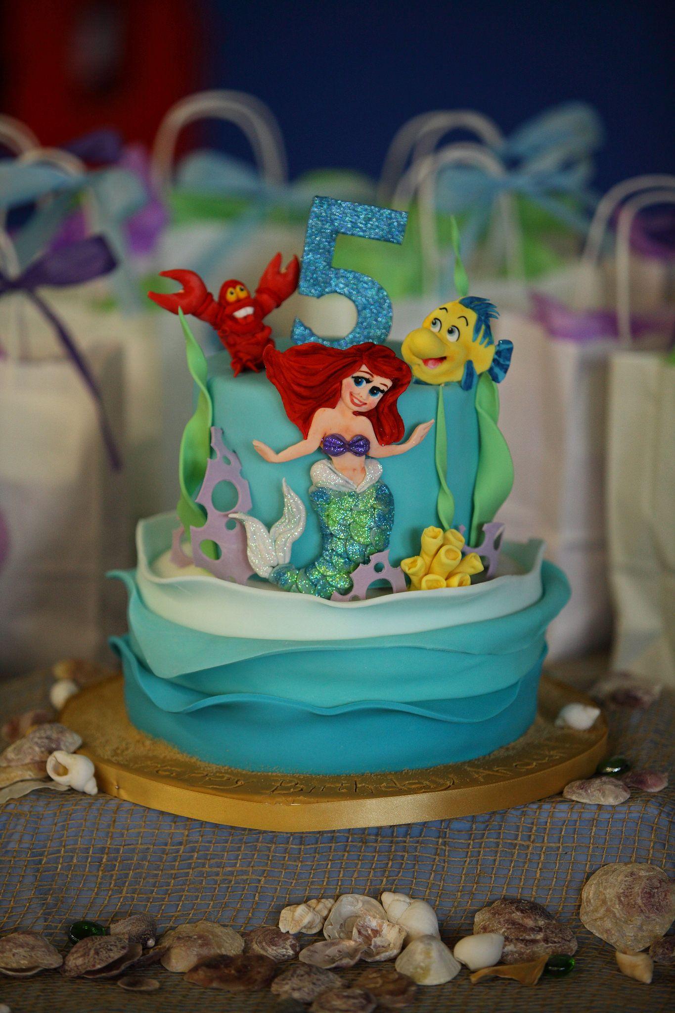 Little Mermaid 5th Birthday Cake Ariel Flounder Sealife