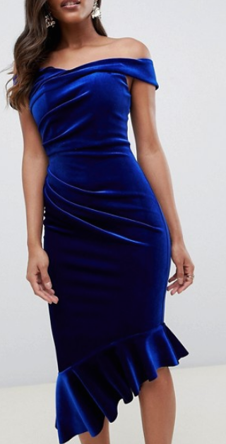 63009e65f1b0 cobalt blue velvet asymmetric off the shoulder sheath dress