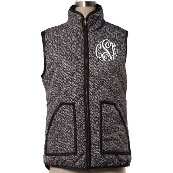 Monogrammed Quilted Herringbone Vest ($67) ❤ liked on Polyvore ...