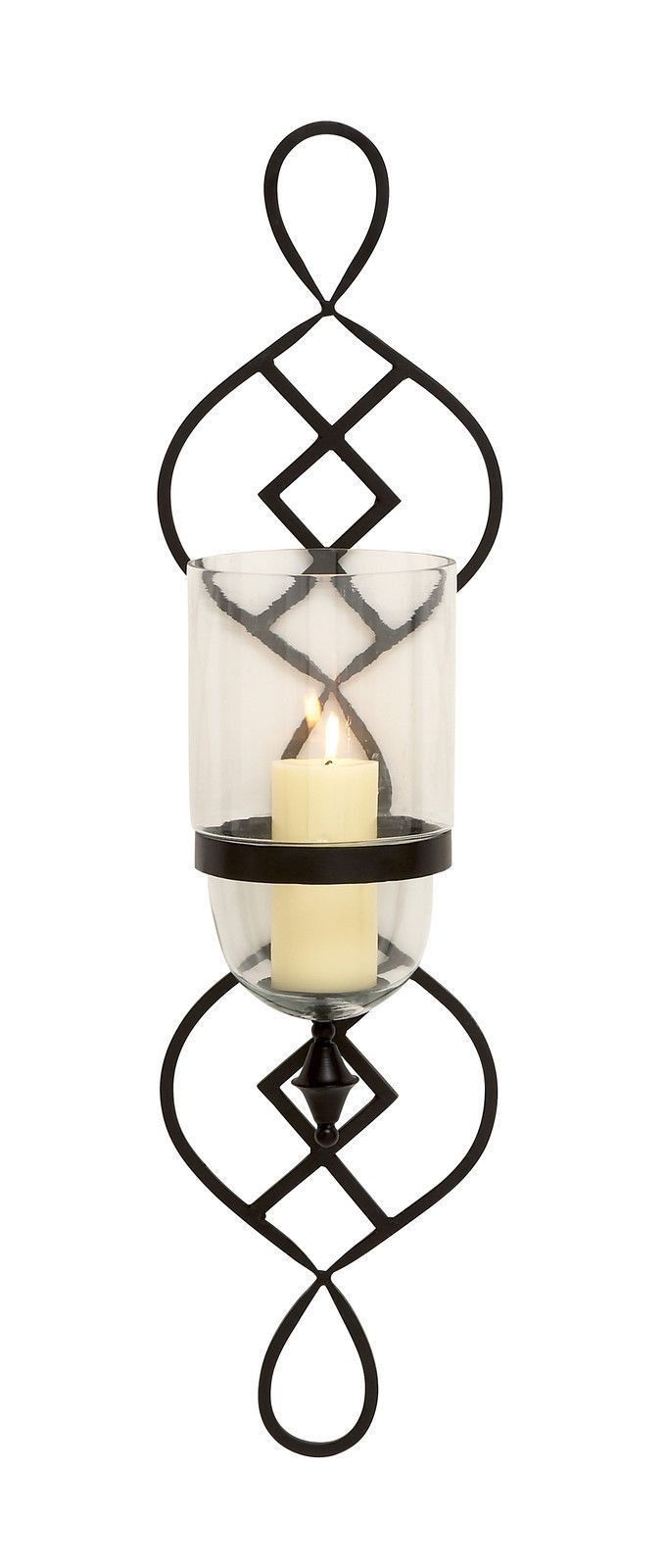 Modern Scroll Metal Glass CandleHolder Wall Sconce ...