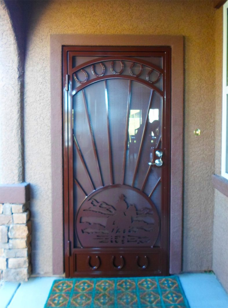 Captivating Cheyenne   Wrought Iron Security Screen Door With Plasma Cut Cowboy Scene  And Horseshoe Castings Model: