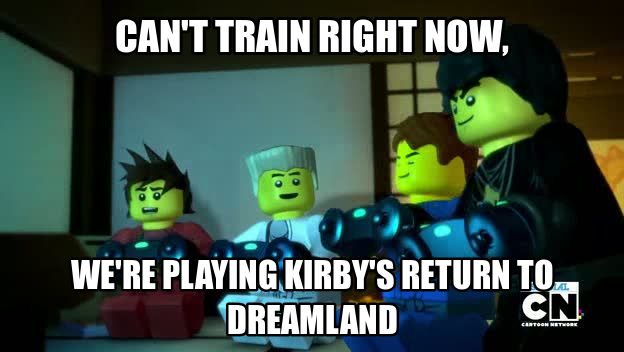 the ninja's can't train so they play kirby's return to