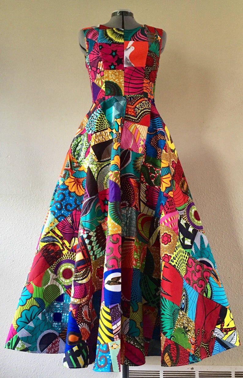 Brillante afrikanische Wachs Druck Patchwork hohe Taille eine Linie Maxi Kleid mit Taschen und Schärpe Multi Farbe