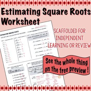 Estimating Square Root Scaffolded Worksheet with Answers Square