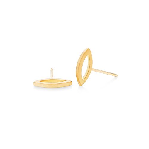 3D Marquise Studs in 18K Yellow Gold feature a matte finish. Their outer side edge points forward in the ear. From one angle, they let the light shine through, and another view shows them as a playful, three-dimensional take on the bar stud concept.