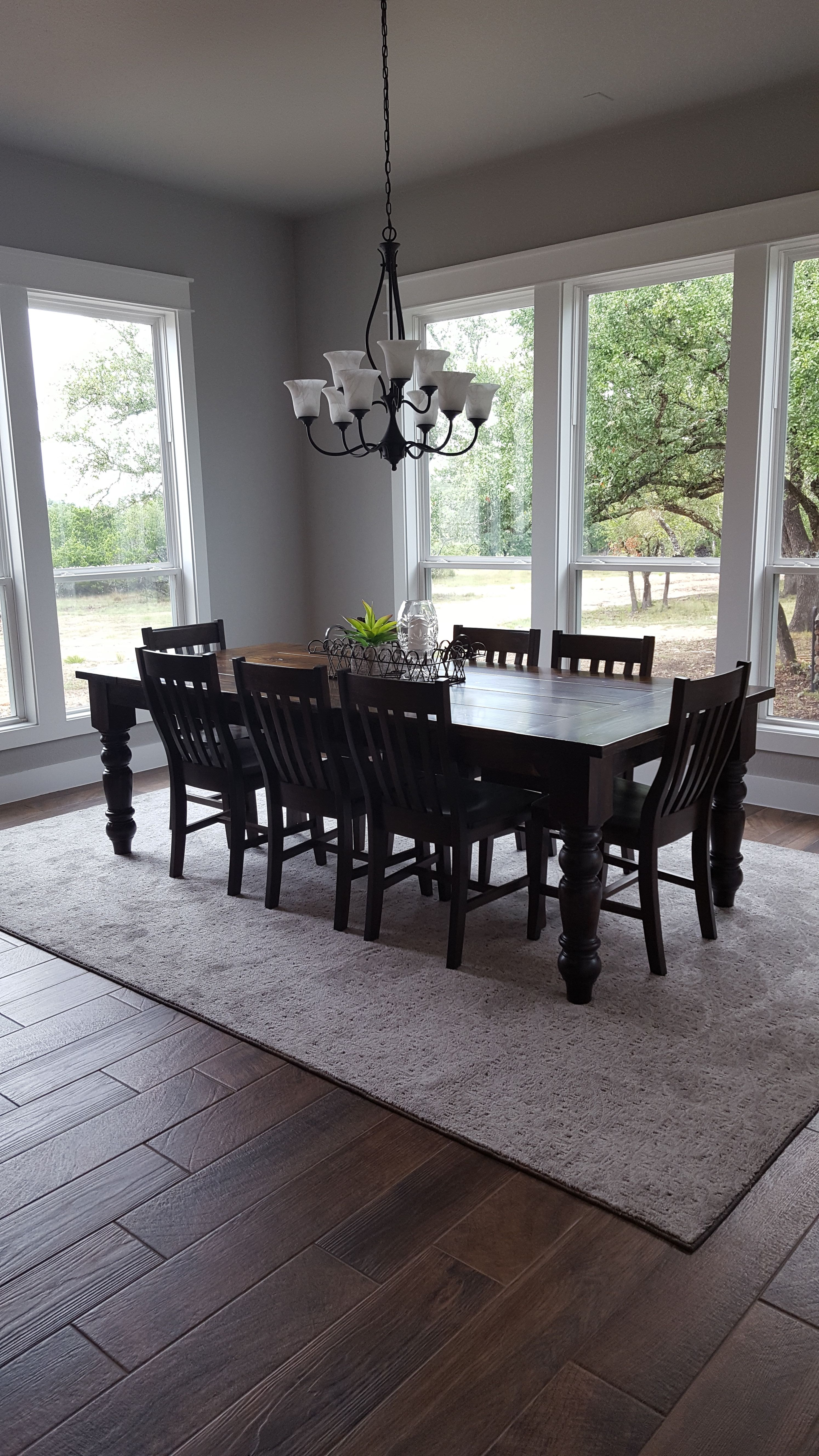 Beautiful Solid Wood Hand Made Baluster Turned Leg Dining Table In Dark Walnut Stain Dark Wood Dining Table Farmhouse Table Legs Farmhouse Dining Room Table