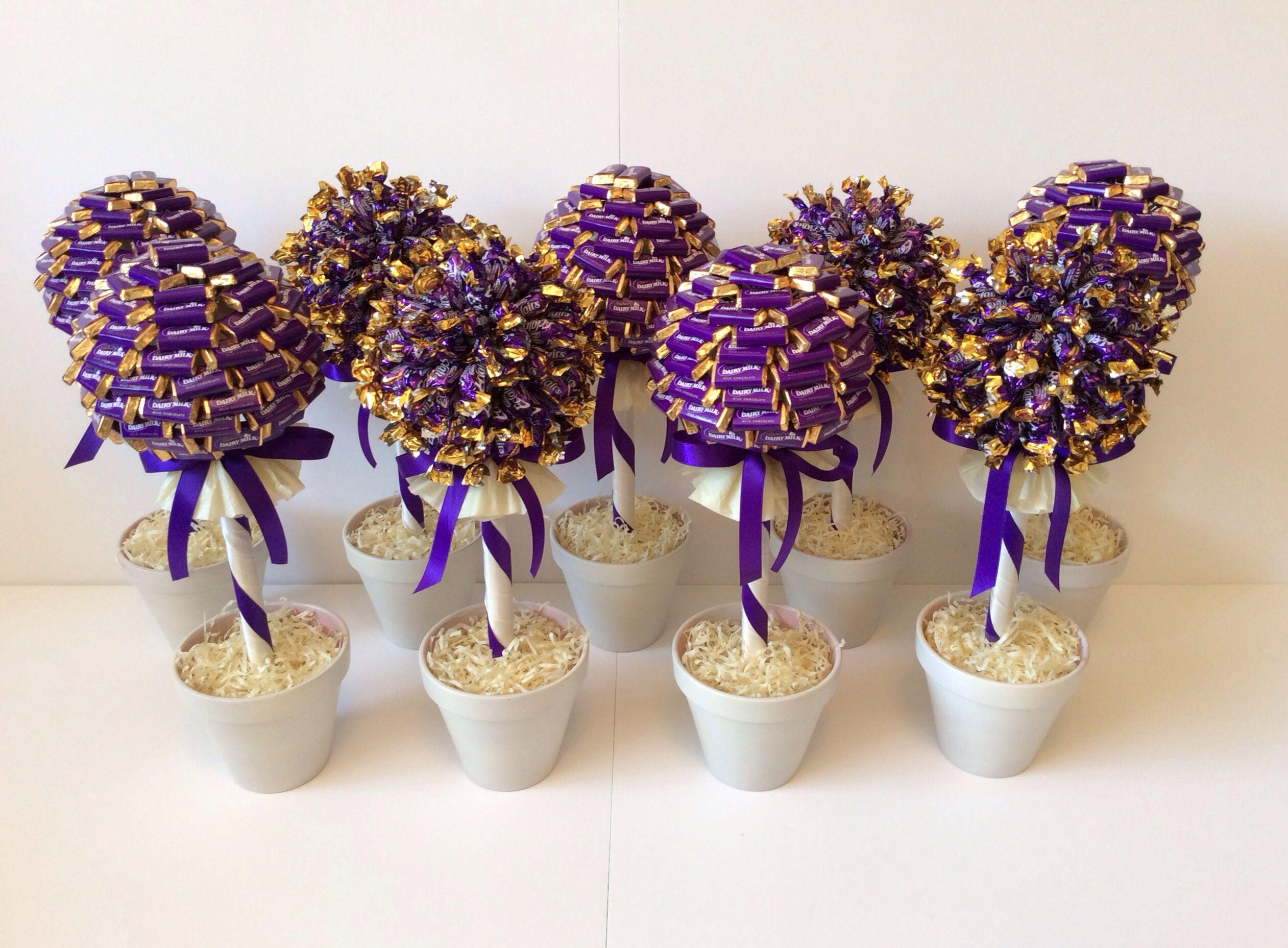 Cadbury Purple And Ivory Chocolate Tree Wedding Centrepieces Sweettreesessex