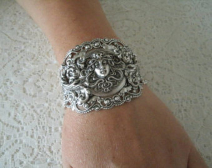 Silver handmade Cuff The Moon of Witch
