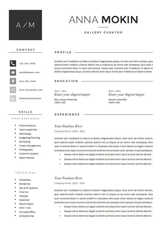 5 page Resume / CV Template + Cover Letter + References for MS Word - Instant Resume Builder